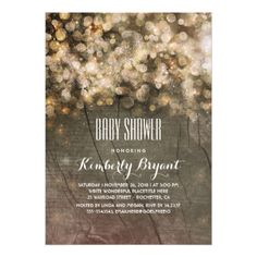 #gold - #Rustic Gold Glitter Lights Wood Sweet Baby Shower Card