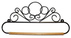 "This 14"" black wire scroll hanger is a great option for those designs with a finished back.  Slip the wooden dowel off and insert it through the finished top.  #bellpull #finishing #stitching #accessories"
