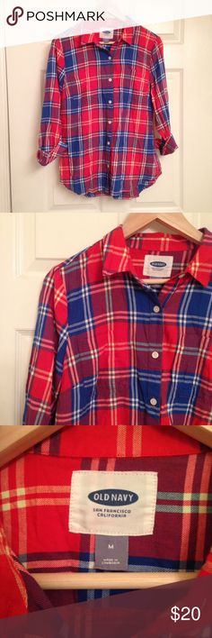 🍁🍂 Old Navy Plaid Shirt - LOWEST PRICE 🍂🍁 Old Navy Red Yellow Plaid Shirt - Fall 2014 line. In excellent used condition. Great open or buttoned down, with jeans, leggings or cords. Super comfortable, bright and vibrant colors! Old Navy Tops Button Down Shirts