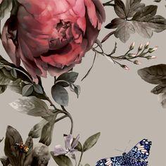 Summer Squall in Red Hot + Beige Wallpaper - by Ellie Cashman Design Vintage Flowers Wallpaper, Beige Wallpaper, Flower Phone Wallpaper, Rose Wallpaper, Wallpaper Samples, Vinyl Wallpaper, Artificial Floral Arrangements, Silk Flower Arrangements, Trailing Flowers