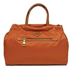 6ff964857 Prada B1843M Papaya Orange Tessuto Saffian Nylon and Leather Shopping Tote  Bag #bolsa #bolso
