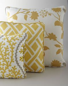 Yellow, Citron, & Gray Pillows at Horchow.
