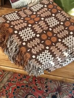 VINTAGE WELSH DOUBLE WEAVE WOOL REVERSIBLE Double Size BLANKET COUNTRY 90in/94in | eBay