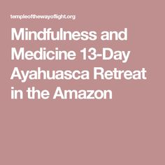 Mindfulness and Medicine 13-Day Ayahuasca Retreat in the Amazon