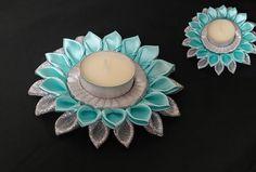 Handmade kanzashi flower hair accessories & decoration by bricoartKAM Diwali Diya, Diwali Craft, Christmas Candle Holders, Candle Holder Decor, Ribbon Art, Ribbon Crafts, Diy Flowers, Fabric Flowers, Diya Photos