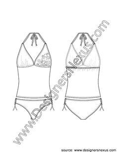 V4 Flat Sketch V-Neck Halter Tankini Top with Empire Seam and Bikini Brief Bottom