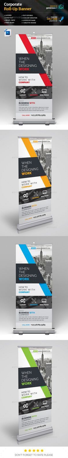 """Roll-Up Banner by generousart File Information: Easy Customizable and EditableSize 30""""x70"""" in with bleedCMYK ColorDesign in 300 DPI ResolutionPrint Ready Format"""