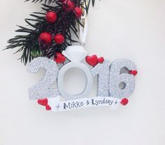 Engagement Personalized Christmas Ornament / 2016 Engagement Ornament / Personalized Ornament / 2016 Engaged Ornament by AdornamentsNY on Etsy https://www.etsy.com/listing/385903226/engagement-personalized-christmas
