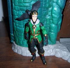 this is a marvel legends Kid Loki Custom Action Figure he was made by figure realmer spensieri he used a marvel icons peter parker head cast, lord of the rings sam body, ultimate nightcrawler forearms and shins, mr fantastic hands, and black spiderman feet, stick on beads for the gems around his body and lord of the rings crow