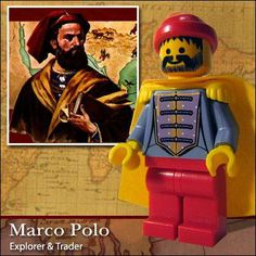 Famous People in Lego ~ Damn Cool Pictures Marco Polo Explorer, Legos, The Wonderful Company, Lego People, Lego Games, Lego Man, Lego Minifigs, All Lego, Fun World