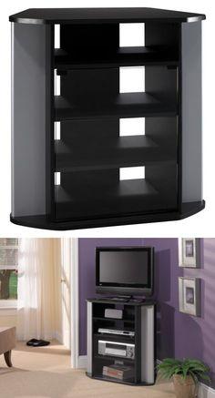 Bush Furniture Visions Corner TV Stand, Black/Silver