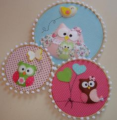 """these embroidery hoops would look adorable nestled along balloons and pom poms for a birthday party """"_ Owl Fabric, Fabric Crafts, Sewing Crafts, Sewing Projects, Owl Crafts, Crafts For Kids, Embroidery Hoop Crafts, Little Presents, Felt Owls"""