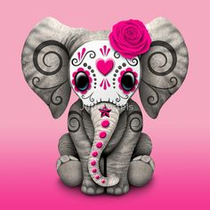 Pink Day of the Dead Sugar Skull Baby Elephant | Jeff Bartels