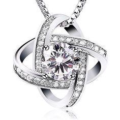 """J.Rosée Collier en argent 925 """"Deux Inséparables"""", bijoux en argent massif pour femme, diamants brillants, pendentif idéal pour amoureux J.Rosée, http://www.amazon.fr/dp/B01N0HG9K3/ref=cm_sw_r_pi_dp_x_dFDRybNYH4KQ2"""