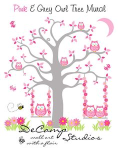 OWL TREE MURAL Wall Decals Pink Grey Gray Baby by decampstudios
