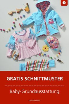 Baby Grundausstattung Schnittmuster Freebie Baby basic sewing: free pattern for jacket, trousers, shirt and hat # sewing for baby # sewing for beginners # cut pattern # cut pattern love Baby Clothes Storage, Sewing Baby Clothes, Designer Baby Clothes, Knitted Baby Clothes, Cute Baby Clothes, Baby Sewing, Doll Clothes, Sewing Basics, Sewing For Beginners
