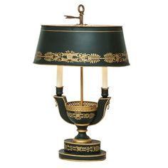 French Antique Neoclassic Style Tole Bouillotte Lamp c1940's : On Antique Row…