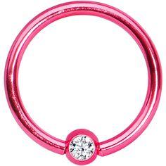 "16 Gauge 3/8"" Clear Crystal Pink Titanium BCR Captive Ring #bodycandy #piercing #trending $2.99"