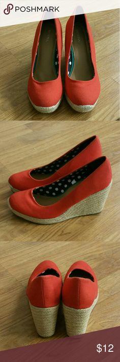 Merona Red Wedges Red Wedges Basket weave  Worn several times Merona Shoes Wedges