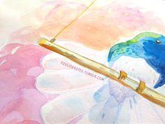 @paulinabemu Paulina Beltrán — Hummingbird swing. Watercolor + gold ink pen...