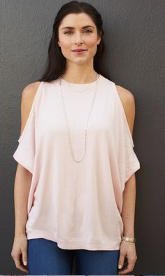 **** Just in for your Spring Summer Stitch Fix!  Love the off the shoulder trend. This blush pink top will be my go to top for white jeans and shorts all Spring Summer!  Dress it up or down.  LOVE it!  Stitch Fix Spring, Stitch Fix Summer, Stitch Fix Fall 2016 2017. Stitch Fix Spring Summer Fall Fashion. #StitchFix #Affiliate #StitchFixInfluencer