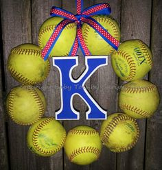 The Original Softball Wreath with letter by BabyToesbyChristy