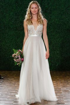 Not sure about the neckline, but would be cute as a sweetheart neckline with the chiffon skirt
