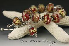 GOLD TREASURES red & 22k gold Bracelet Handmade Lampwork by Teri Moore Lampwork Designs SRA M2 Free Sizing! by terimoorelampwork on Etsy