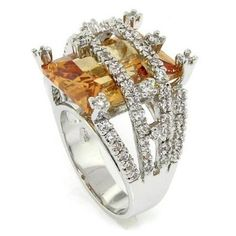 CHAMPAGNE CZ RING SIZE 8~HUGE EMERALD CUT STON