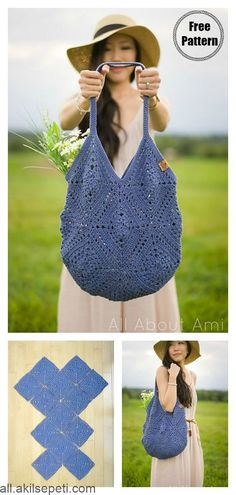 Caribe Big Bag Free Crochet Pattern - knitting is as easy as 3 . Caribe Big Bag Free Crochet Pattern - knitting is as easy as 3 Knitting boils down to three essential skills. These are the cast, the knit stitc. Crochet Diy, Bag Crochet, Crochet Market Bag, Crochet Gratis, Crochet Purses, Love Crochet, Crochet Stitches, Crochet Squares, Crochet Ideas