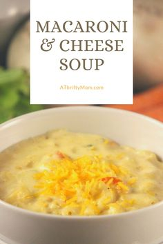Combine the comfort food of Macaroni and cheese with a hearty soup fit for a cold day with this delicious Macaroni and Cheese Soup Macaroni Soup Recipes, Creamed Corn Recipes, Cheese Soup, Macaroni And Cheese, Crock Pot Soup, Recipe For Mom, Cooking Recipes, Easy Recipes, Dinner Recipes