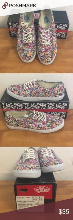 Floral Vans Lo Pro Authentic men's 8 wmn's 9.5 Perfect for spring! Barely worn multi colored floral Vans Lo Pro Authentic men's size 8 women's 9.5. Comes with original box. Vans Shoes Sneakers