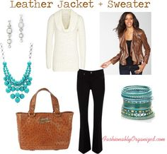 Leather Jacket + Sweater by FashionablyOrganized.com