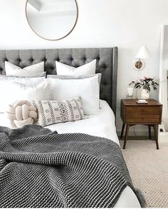 Borchers Upholstered Panel Bed - Home Decoration Ideas - Bedroom Cozy Bedroom, Home Decor Bedroom, White Bedroom, Budget Bedroom, Bedroom Curtains, Bedroom Inspo Grey, White Comforter Bedroom, Grey Bedding, Bedroom Furniture