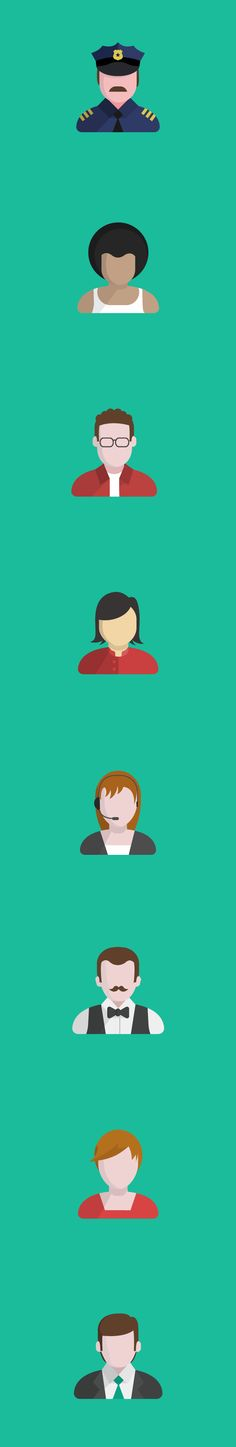 People Flat Icons by Nicolás Paparella, via Behance  #flat #character #icon