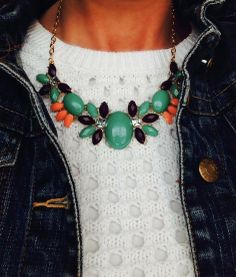 www.accessoriesinstyle.com   Green Apple Statement Necklace