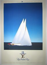 Hand Signed Razzia Louis Vuitton Cup 1987 Poster on Linen