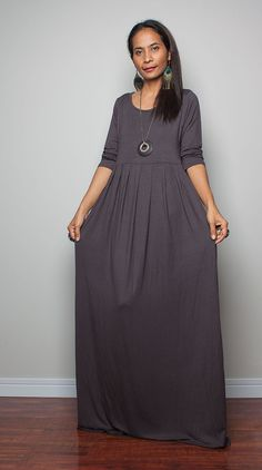 Grey Maxi Dress with 3/4 Sleeves   Autumn Thrills by Nuichan, $59.00