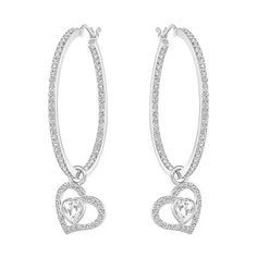 Swarovski Net Pierced Earrings ($119) ❤ liked on Polyvore featuring jewelry, earrings, swarovski earrings, heart dangle earrings, sparkly earrings, clear crystal jewelry and sparkle jewelry