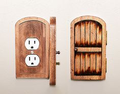 Handmade Wooden Rustic Fairy Door Switchplate/Outlet Cover - Unique Novelty Home Decor Secret & Fairy Door Faerie Door Gnome doors Elf Doors Hobbit Doors ... pezcame.com