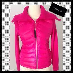 HPCALVIN KLEIN Performance Pink Down jacket CALVIN KLEIN Pink Performance Lightweight Down & knit jacket. NWT Calvin Klein Jackets & Coats