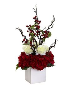 Look what I found on #zulily! Holiday Cheers Flower Arrangement & Vase by Nearly Natural #zulilyfinds