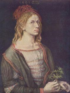 Self-Portrait, 1493 by Albrecht Durer. Northern Renaissance. self-portrait. Louvre, Paris, France