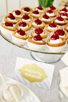 Mini raspberry cheesecakes.
