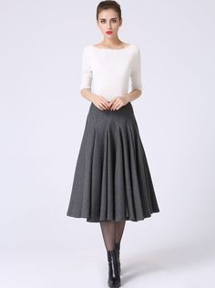 Wool Pleated Winter Skirt  Womens Dark Gray Grey Full by xiaolizi
