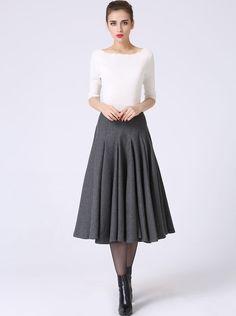dark grey skirt pleated skirt wool skirt tea length by xiaolizi                                                                                                                                                                                 More