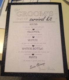 Groom's survival kit checklist