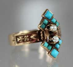 Antique Edwardian Hand Made 14K Rose Gold Ladies Ring with 10 bezel set Robin Egg Blue Turquoise gemstones and 2 seed pearls which are each 5 prong-set.