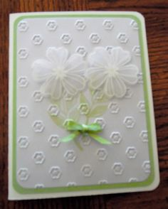 Stampin up Flower Shop heat emboss on velum and punch out