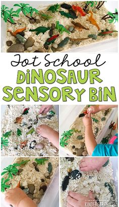 We LOVE this dinosaur cloud dough sensory bin. Cloud dough is so fluffy and fun to explore! Great for tot school preschool or even kindergarten! Dinosaurs Preschool, Dinosaur Activities, Dinosaur Crafts, Hands On Activities, Preschool Activities, Dinosaur Party, Dinosaur Projects, Dinosaur Dinosaur, Preschool Projects